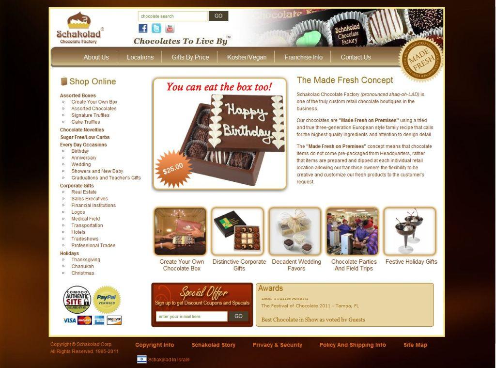 Schakolad Chocolate Factory New Home Page Design
