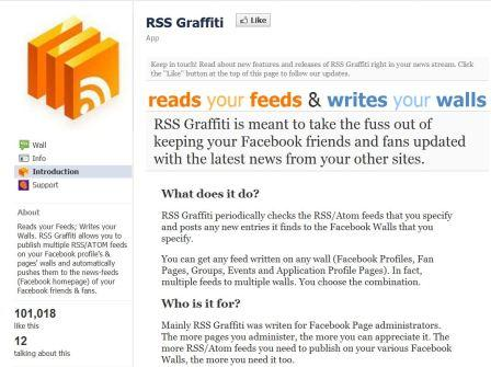 RSS Graffiti Facebook App