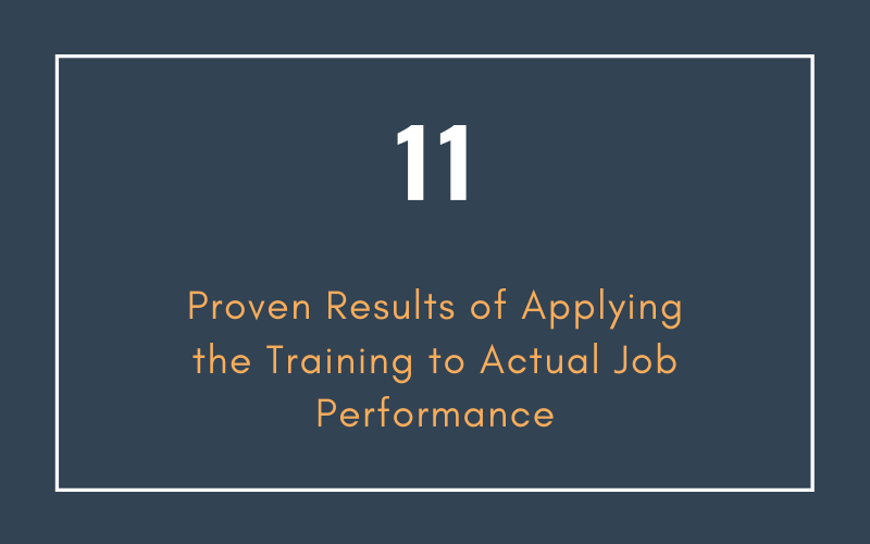 Proven Results of Applying the Training to Actual Job Performance | Xcellimark Training