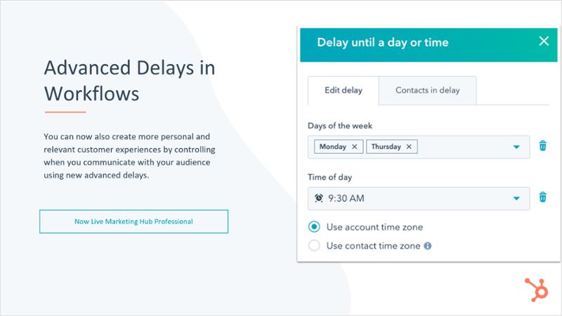 HubSpot Marketing Hub Advanced Delays in Workflows