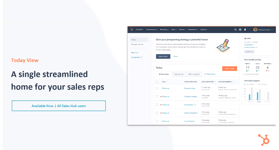 HubSpot Sales Hub Today View - Xcellimark Blog