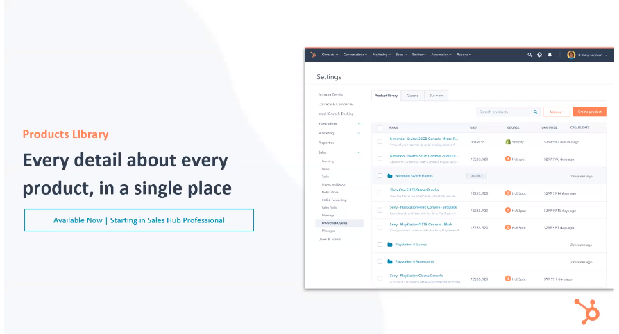 HubSpot Sales Hub Product Library - Xcellimark Blog